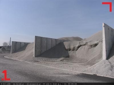 ściany grodziowe składu kruszywa
